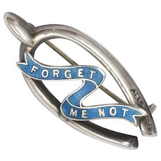 English 1916 Silver and Enamel Forget Me Not Wishbone Pin - Adie & Lovekin - Red Tag Sale Item