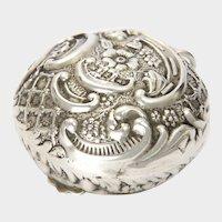 Victorian 1899 Sterling Silver Repoussé Pill Box - LEVI & SALAMAN