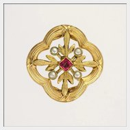 French Circa 1890-1900  Gold Plated and Ruby Paste Clip