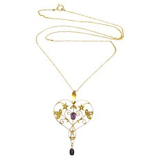 English Art Nouveau 9K Gold Amethyst and Seed Pearl Necklace - Original Box