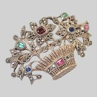 French Antique Silver Gilt and Gemstones Basket Pin