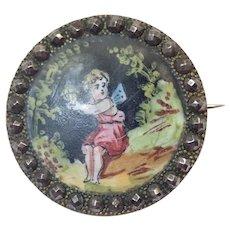 French Antique Painted Enamel Cherub Cut Steel Button Pin