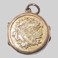 French 19C Silver Gilt Music Locket Charm