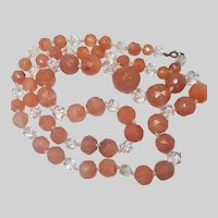 """Art Deco Long Natural Carnelian and Crystal Glass Beads Necklace - 34"""""""