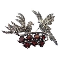 Sterling Silver Garnets and Marcasites Doves Pin