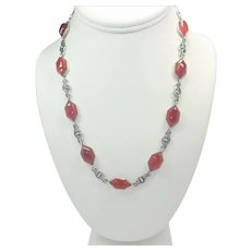 Arts and Crafts Silver and Carnelian Agate Necklace