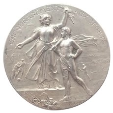 French Antique 950 Silver Sports Medal - F RASUMNY