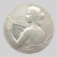 French Antique 950 Silver  St. Cecelia Medal - F Rasumny