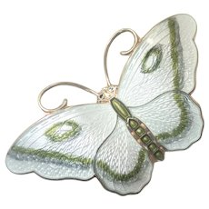Norwegian Silver and Enamel Butterfly Pin- 48mms - Hroar Prydz