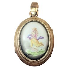 French Antique Gold Filled or Plated Painted Ceramic Plaque Locket