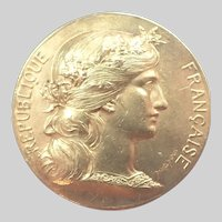 French Antique Silver Gilt Marianne Medal -  D Dupuis