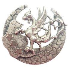 French Art Nouveau Silver Griffin Pin
