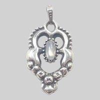 Arts and Crafts Danish Skonvirke Silver Moonstone Pendant - Grann and Laglye