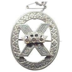 Victorian Scottish Silver and Citrines Saltire Cross Pin