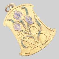 Belgian Art Nouveau Enamel Iris  Pendant - Fonson & Co