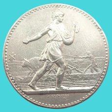 French Antique Silver 'The Sower@ Agricultural Medal - J Lagrange