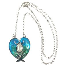 Arts and Crafts Silver Enamel and Pearl Pendant Necklace