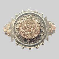 Victorian Silver and Rose Gold Overlay Locket Back Pin
