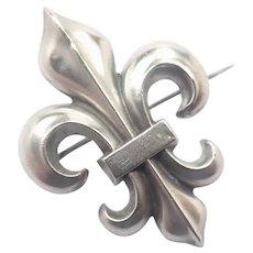 French Art Nouveau Silver Fleur de Lis Pin