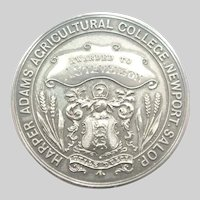 Large English 1930 Sterling Silver Agricultural Medal