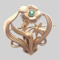 French Art Nouveau 18K Gold Filled Flower Brooch - TITRE FIXE