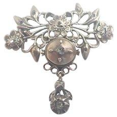 Georgian Silver and Diamonds Floral Pin