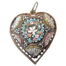 Italian Circa 1900 Micro-Mosaic Heart Pendant