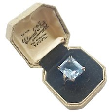 English 9K Gold and Blue Spinel Ring with Original Box