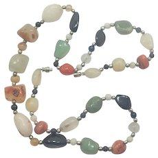 "Vintage Natural Agates Necklace - 24¼"""