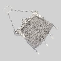 French Art Nouveau Violets Silver Mesh Purse with Pearl Drops