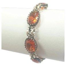 Sterling Silver and Cairngorm Citrine Pastes Bracelet