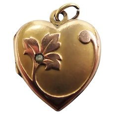 French Art Nouveau Gold Filled Heart Locket -ORIA