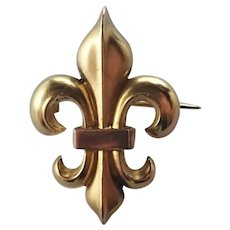 French Art Nouveau Gold Filled Fleur de Lis Pin - FIX