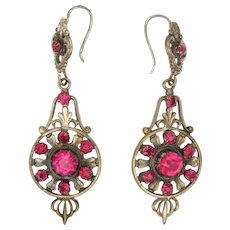 French Antique Silver on Copper with Pastes Drop Earrings