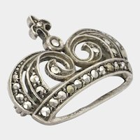 French Art Deco Silver Marcasite Crown Pin