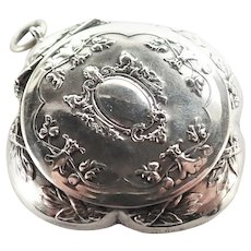 French Antique Silver Compact Pendant