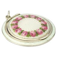 Art Deco Double Sided 935 Silver Enamel Roses Compact Pendant