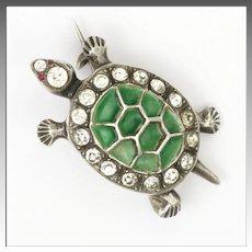 Sterling Silver Plique à Jour and Pastes Tortoise Pin - Circa 1910-1920