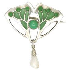Art Nouveau German Jugendstil 800 Silver and Plique-à-Jour Pin