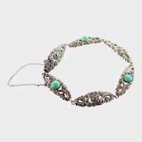European 1930's Silver Marcasite and Amazonite Bracelet