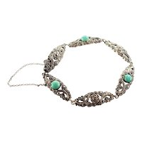 European 1930's Silver Marcasite and Amazonite Bracelet
