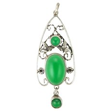 Arts & Crafts Silver and Chrysoprase Agate Pendant