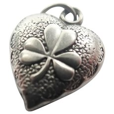 French Victorian Silver Clover Puffed Heart Charm