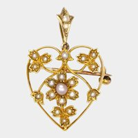 English Edwardian 15K Gold and Seed Pearl Heart Pendant/Pin