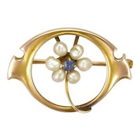 Art Nouveau 10K Gold with Spinel and Pearl Flower Pin