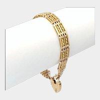 English Edwardian 9K Gold Gate Bracelet - Heart Padlock -19.1 grams