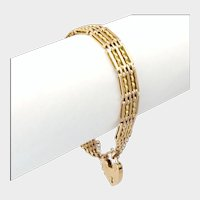 English Edwardian 9K Gold Gate Bracelet - Heart Padlock -19.1 grams
