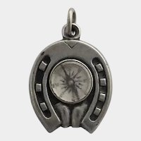 LateVictorian Silver Compass Pendant or Charm