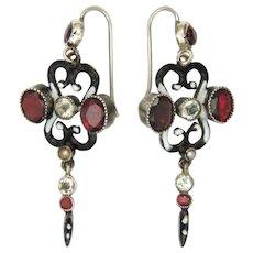 Austro-Hungarian Silver Garnets Tourmalines Enamel Earrings - Red Tag Sale Item