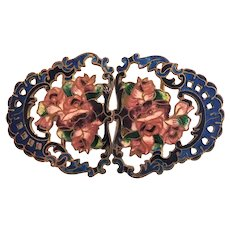 Edwardian Enamel on Gilt Metal Roses Buckle